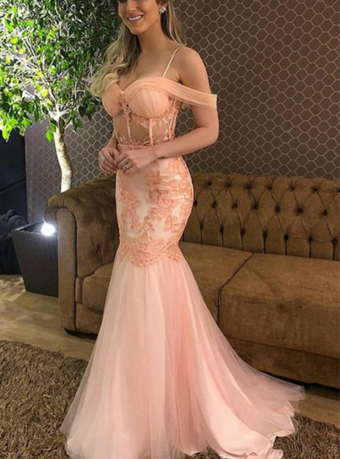 Pink Mermaid Tulle Spagehtti Straps Appliques Prom Dress 2020