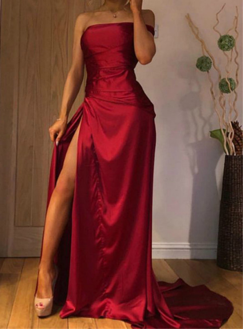 Sexy Burgundy Satin One Shoulder Long Prom Dress With Side Split