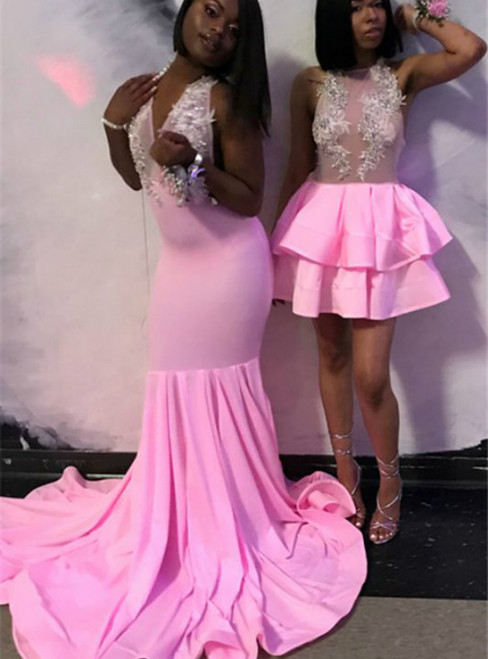 Sexy Pink Mermaid V-neck Appliques Backless Prom Dress 2020