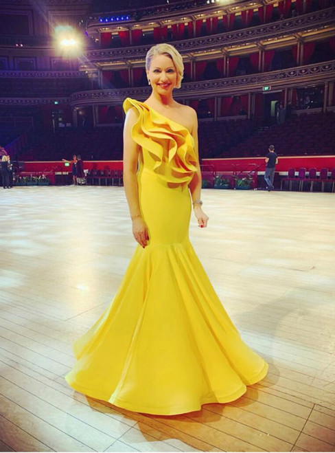 Take Center Stage In Yellow Mermaid Satin One Shoulder Ruffles Prom Dress