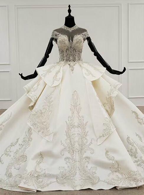 Ivory White Ball Gown Satin Cap Sleeve Beading Crystal Wedding Dress 2020