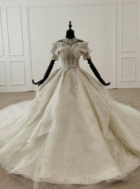 Ivory White Ball Gown Tulle High Neck Short Sleeve Wedding Dress 2020