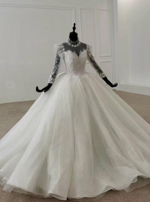 White Ball Gown Tulle Long Sleeve Beading Floor Length Wedding Dress 2020