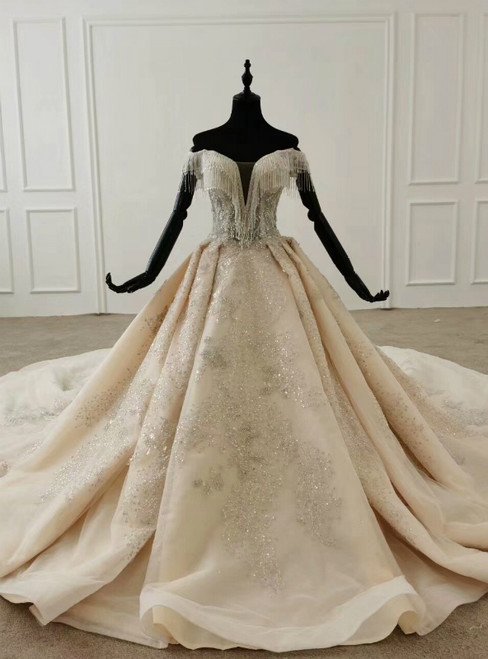 Luxury Champagne Ball Gown Tulle Sequins Off the Shoulder Beading Wedding Dress With Train 2020