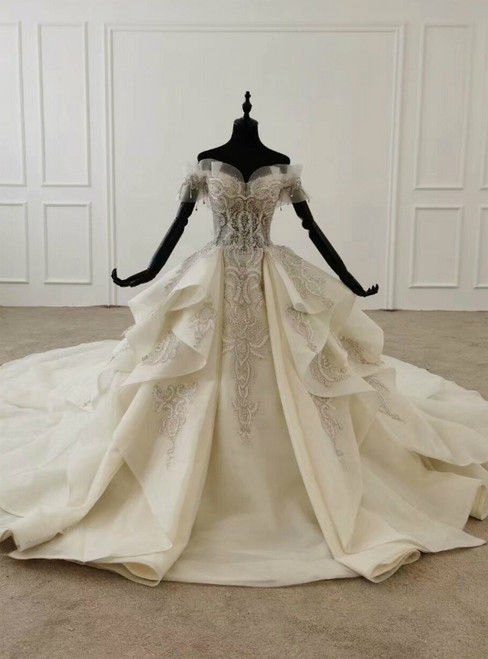 Ivory White Ball Gown Tulle Off the Shoulder Wedding Dress With Train 2020