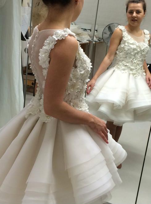 A-line Scoop Short Mini Organza Short Prom Dress Homecoming Dresses