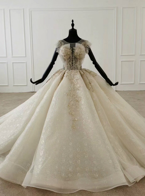 Ivory White Ball Gown Tulle Sequins Floor Length Wedding Dress 2020