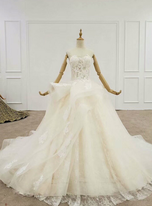 Champagne Ball Gown Tulle Sweetheart Appliques Wedding Dress