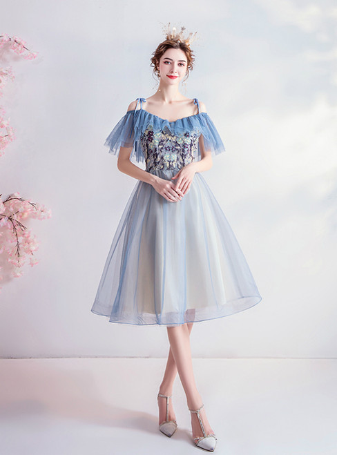 In Stock:Ship in 48 Hours Blue Tule Spagehtti Straps Homecoming Dress