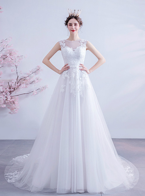 In Stock:Ship in 48 Hours White Tulle Appliques Wedding Dress 2020