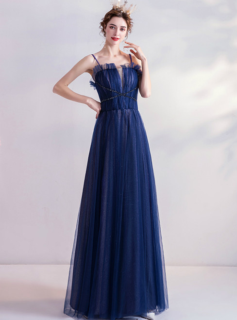 In Stock:Ship in 48 Hours Navy Blue Tulle Spaghetti Straps Sequins Prom Dress 2020