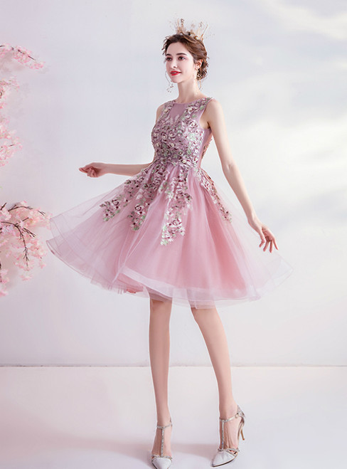 In Stock:Ship in 48 Hours Pink Tulle Embrodiery Appliques Homecoming Dress 2020