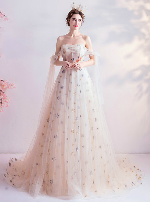 In Stock:Ship in 48 Hours Champagne Tulle Star Sequins Prom Dress 2020