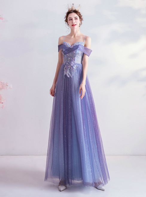 In Stock:Ship in 48 Hours Purple Tulle Appliques Spagehtti Straps Prom Dress 2020