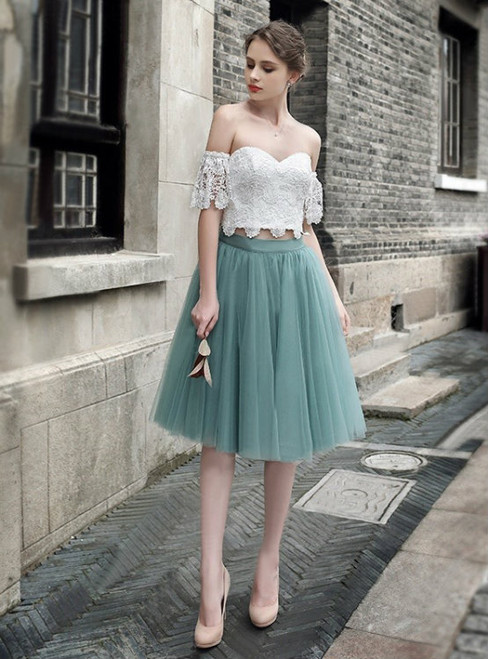A-line Off-the-shoulder Knee Length Tulle Short Prom Dress Homecoming Dresses