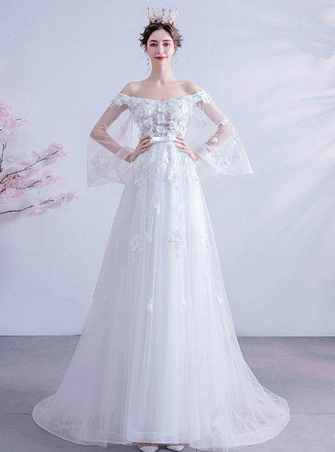 In Stock:Ship in 48 Hours White Tulle Appliques Puff Sleeve Wedding Dress 2020