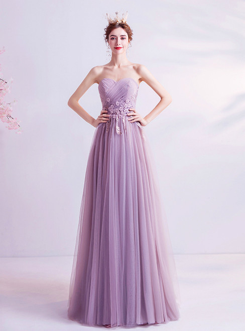 In Stock:Ship in 48 Hours Purple Tulle Sweetheart Appliques Pleats Prom Dress 2020