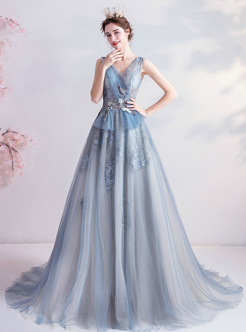 In Stock:Ship in 48 Hours A-Line Blue Tulle V-neck Appliques Long Prom Dress 2020