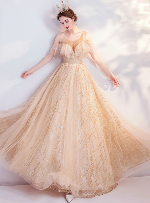 In Stock:Ship in 48 Hours Gold Tulle Sequins Beading Prom Dress 2020