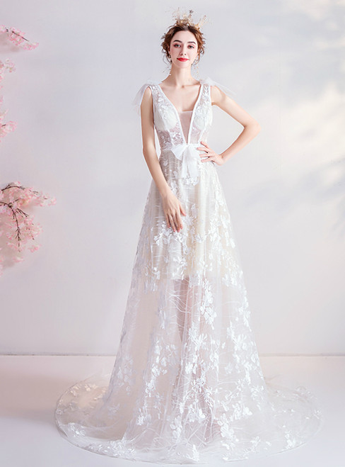 In Stock:Ship in 48 Hours White Tulle Appliques V-neck Wedding Dress 2020
