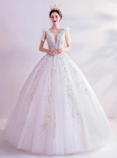 In Stock:Ship in 48 Hours White Ball Gown Appliques V-neck Wedding Dress 2020