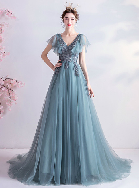 In Stock:Ship in 48 Hours Blue Tulle Appliques V-neck Prom Dress 2020
