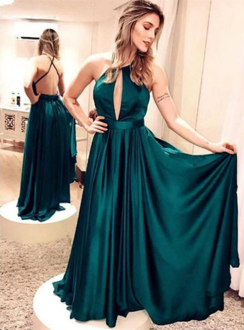 5db1a50aebd Emerald Green Satin Long Prom Dresses A-Line Evening Dresses Simple Backless
