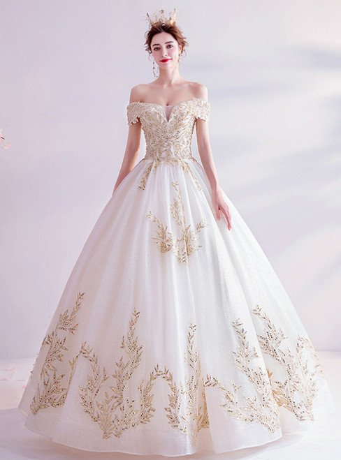 In Stock:Ship in 48 Hours White Tulle Off the Shoulder Gold Appliques Wedding Dress 2020