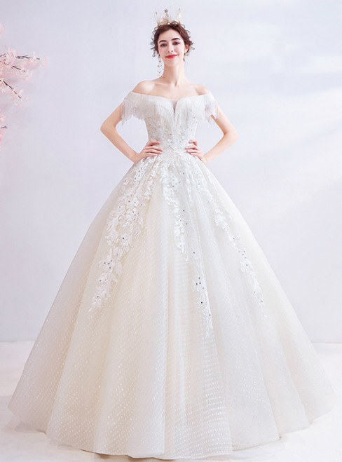 In Stock:Ship in 48 Hours Champagne Ball Gown Sequins Beading Wedding Dress 2020