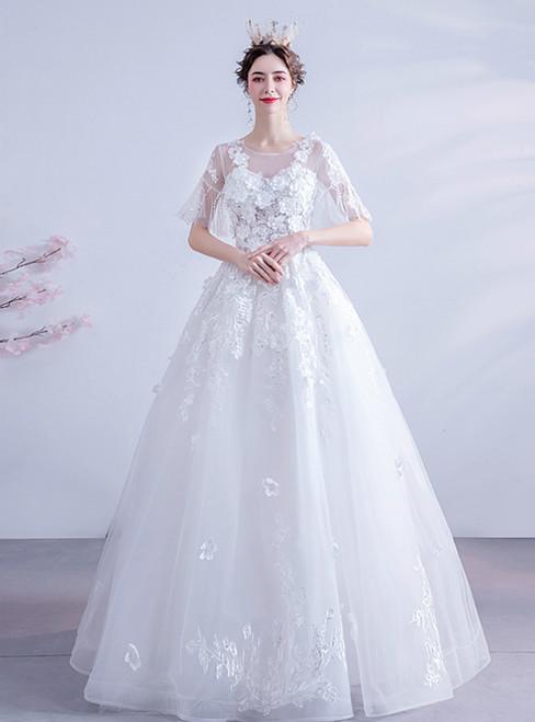 In Stock:Ship in 48 Hours White Tulle Short Sleeve Backless Wedding Dress 2020