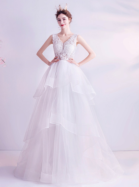 In Stock:Ship in 48 Hours White Tulle Lace V-neck Wedding Dress 2020