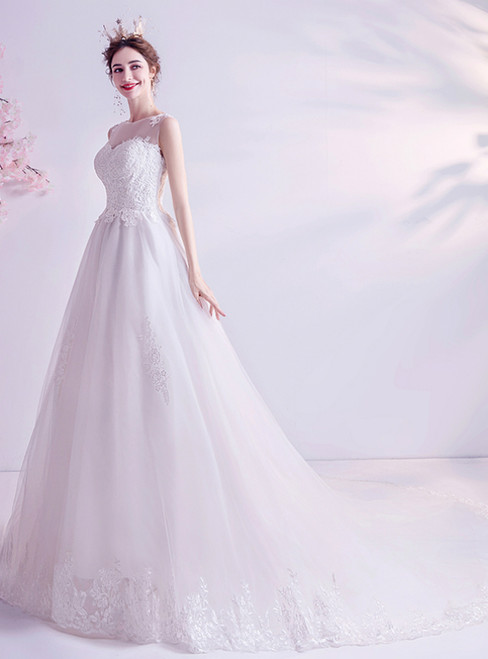 In Stock:Ship in 48 Hours White Tulle Lace Appliques Wedding Dres 2020