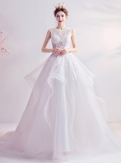 In Stock:Ship in 48 Hours White Tulle Lace Appliques Long Wedding Dress 2020