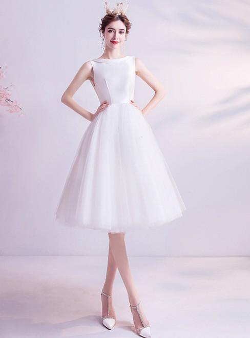 In Stock:Ship in 48 Hours White Tulle Short Wedding Dress 2020