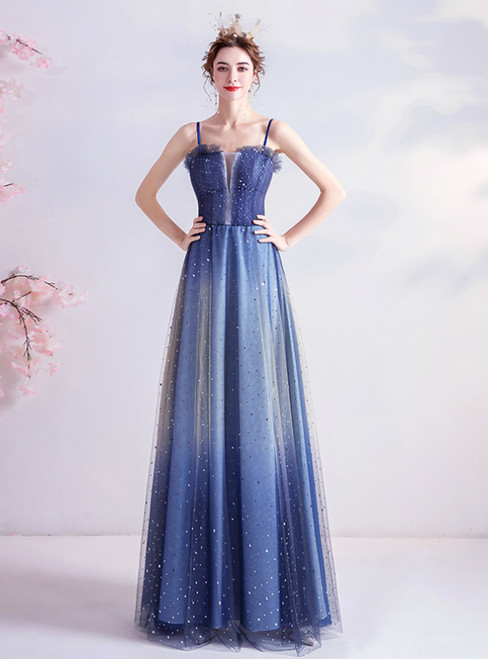 In Stock:Ship in 48 Hours Blue Tulle Spagehtti Straps Sequins Prom Dress 2020
