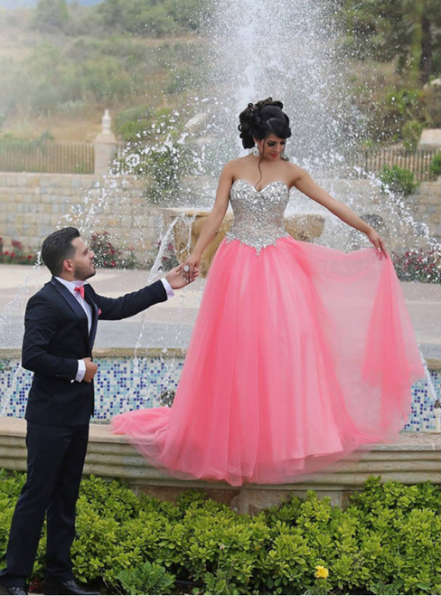 Spakling Crystals Pink Sweetheart Tulle Floor Length Prom Dress