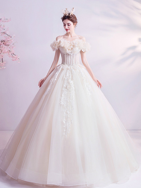 Shop 2020 Cheap In Stock:Ship in 48 Hours Appliques Tulle Off the Shoulder Wedding Dress From Kemedress