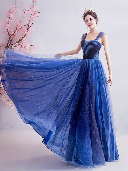 In Stock:Ship in 48 Hours Blue Tulle Two Colors Sparkle Sequins Off the Shoulder Prom Dress