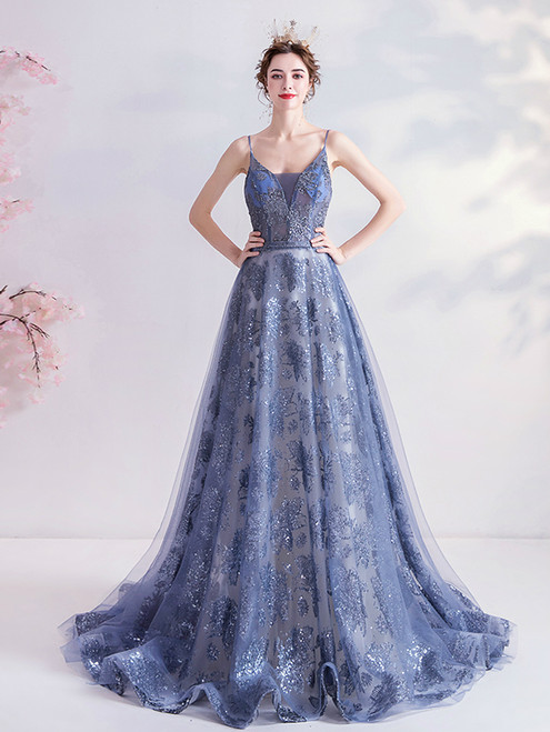 In Stock:Ship in 48 Hours Blue Tulle Appliques Sequins Spaghetti Straps Prom Dress