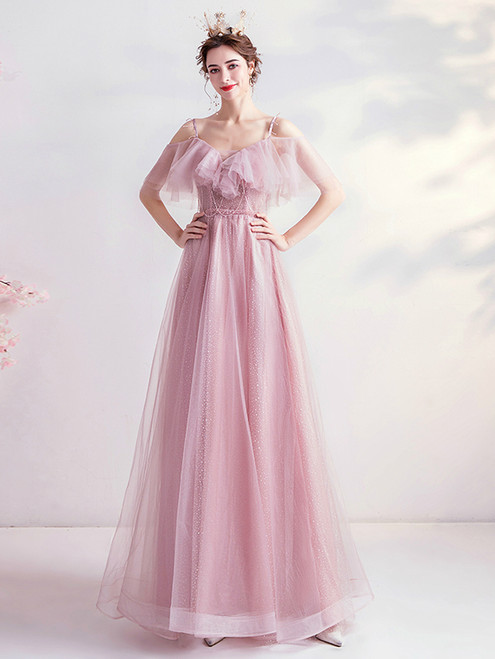 Shop In Stock:Ship in 48 Hours Pink Tulle Spaghetti Straps Sequins  Prom Dress From Kemedress