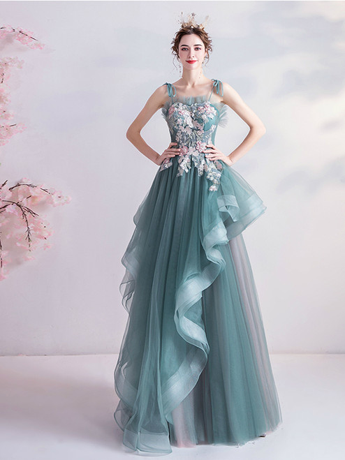 Shop 2020 In Stock:Ship in 48 Hours Green Straps Tulle Appliques A Line Prom Dress With Fast Shipping