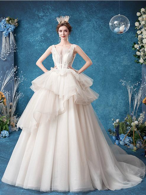 Buy In Stock:Ship in 48 Hours White Tulle V Neck Ruffles Ball Gown Wedding Dres Under 150