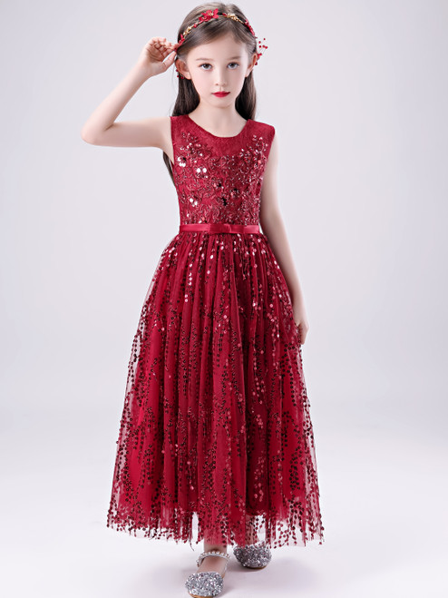 New Arrival 2020 Cute Red Sequin Ankle Length Sparkle Flower Girl Dress With Belt