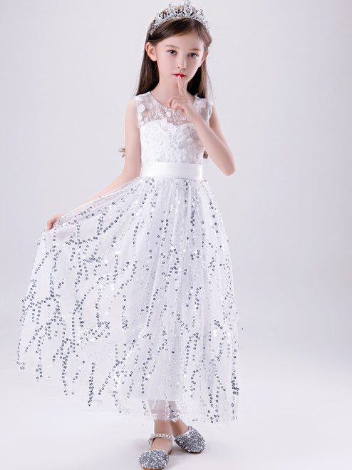 Shop Cheap 2020 White Scoop Ankle Length Appliques Sequin Flower Girl Dress Under 100