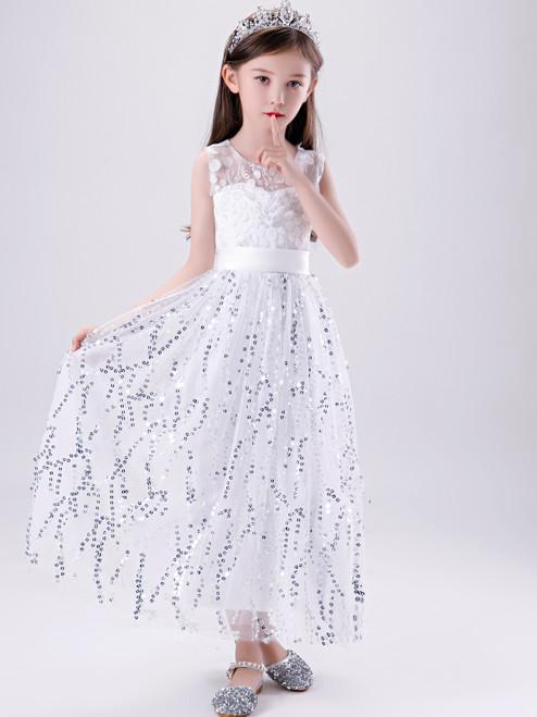 Shop Cheap 2020 White Scoop Ankle Length Appliques Sequin Flower Girl Dress Under 100