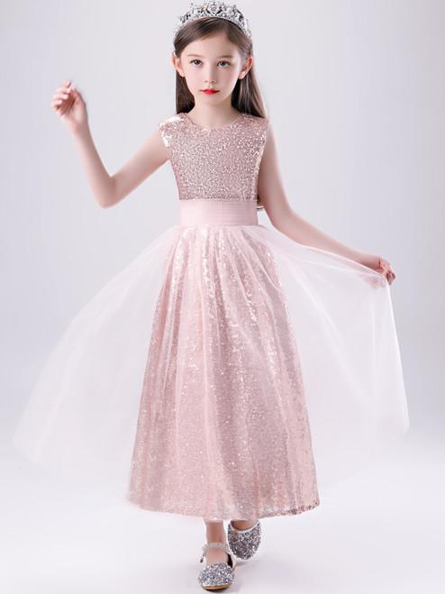 Shop 2020 New Arrival Pink Sequin Tulle Scoop Bling Bling Flower Girl Dress Under 100