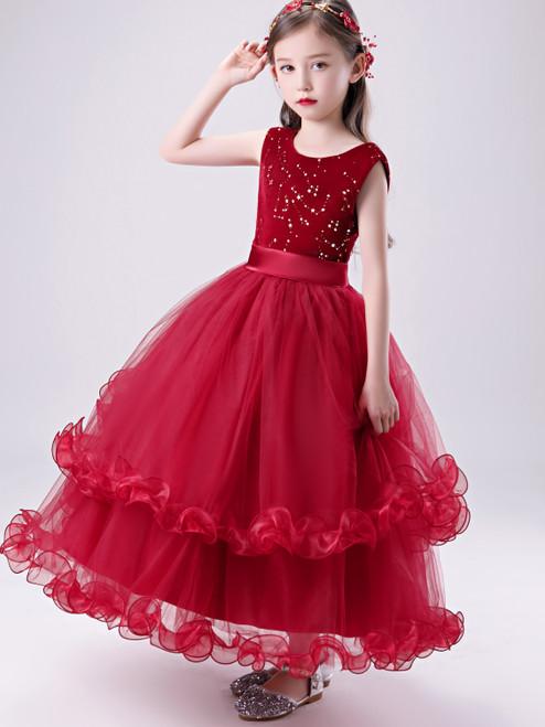 Shop 2020 Cheap Red Scoop Tulle Ruffles Beading Flower Girl Dress