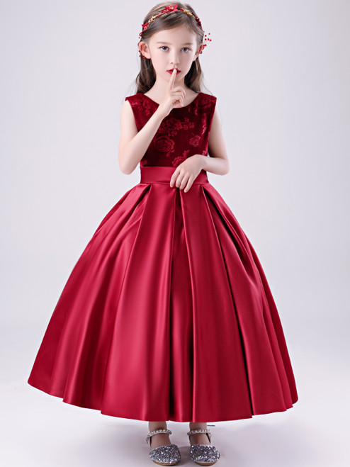 Shop 2020 Dark Red Satin Scoop Ankle Length Flower Girl Dress With Belt Under 100