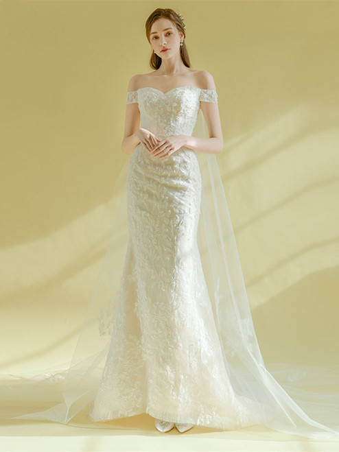 Shop 2020 Lace Off The Shoulder Sweep Trian Appliques Lace Up Wedding Dress With Low Price