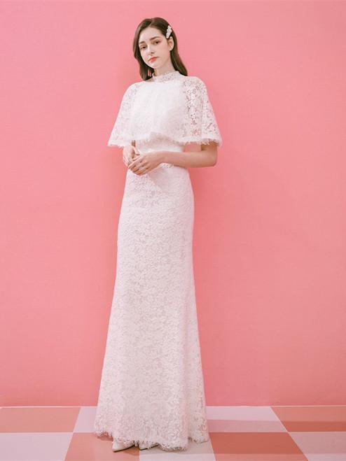 Shop Unique 2020 High Neck Lace Mermaid Two Piece Lace Up Wedding Dress Under 300